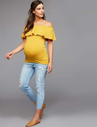Luxe Essentials Denim Under Belly McKenzie Crop Straight Maternity Jeans