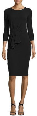 Armani Collezioni 3/4-Sleeve 1/2-Peplum Dress, Black $995 thestylecure.com