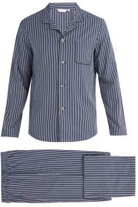 Derek Rose - Royal Stripe And Cross Print Cotton Pyjama Set - Mens - Navy