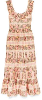 LoveShackFancy Joanne Ruffled Tiered Printed Silk-satin Maxi Dress - Blush