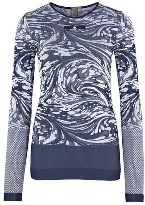 Stella McCartney Adidas X Adidas X Navy Intarsia Stretch-jersey Top