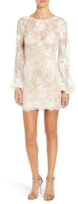 Women's Katie May 'Britney' Long Sleeve Open Back Lace Sheath Dress $395 thestylecure.com