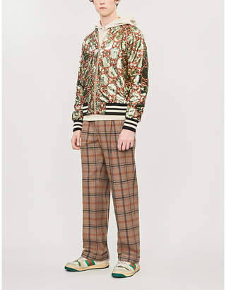 Gucci Logo-embroidered sequinned bomber jacket