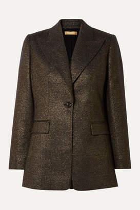 Michael Kors Checked Metallic Wool-blend Blazer - Gold