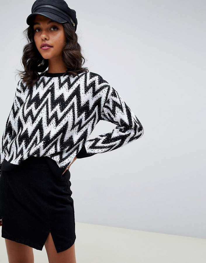 ASOS DESIGN sweater in mono chevron pattern