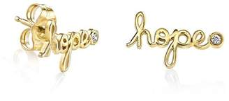 Sydney Evan Syd by 14K Yellow Gold Plated Sterling Silver Diamond 'Hope' Stud Earrings - 0.02 ctw