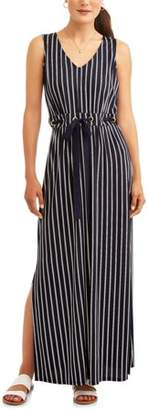 Wrapper Women's Vertical Stripe Tie Waist Maxi