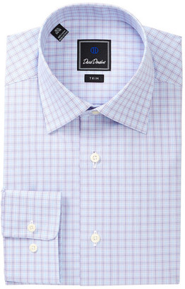David Donahue Patterned Trim Fit Dress Shirt $135 thestylecure.com