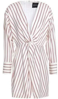 Nicholas Twist-front Striped Satin-crepe Mini Dress