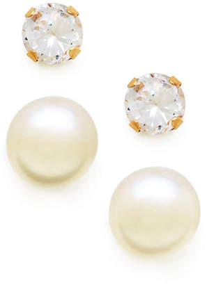 Tag Heuer FINE JEWELLERY Kids Set of 14K Pearl and Cubic Zirconia Earrings
