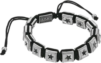 King Baby Studio - Macrame Bracelet with Single White Alloy Square Star Beads  Bracelet $100 thestylecure.com