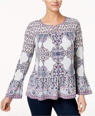Style&Co. Style & Co Printed Lantern-Sleeve Top, Created for Macy's