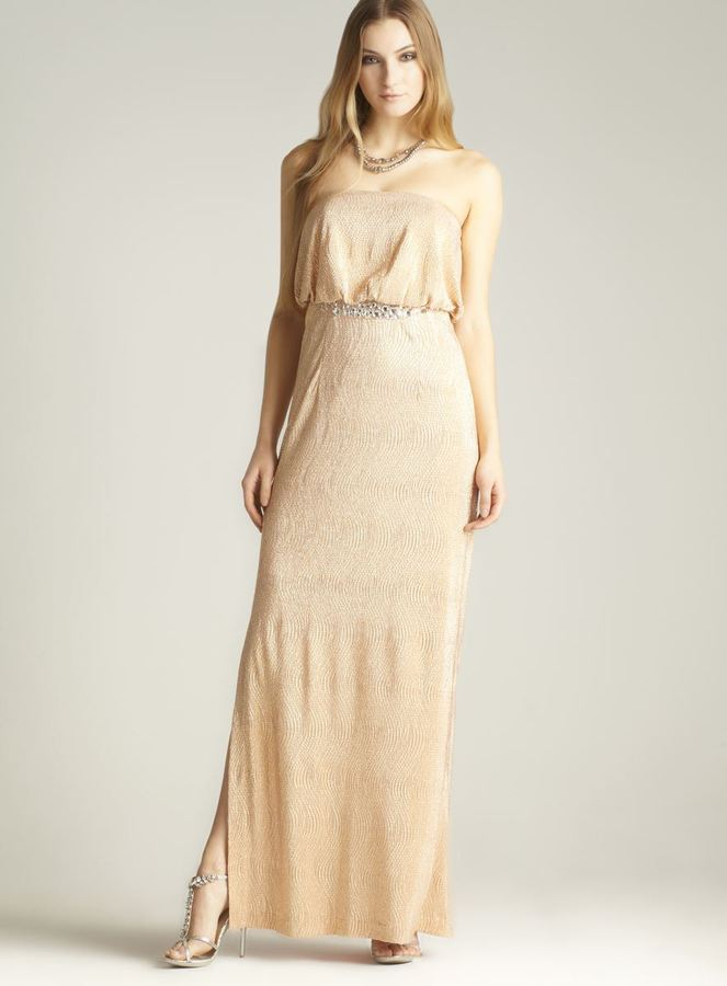 JS Collections Shimmery Strapless Gown