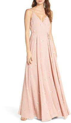 Jenny Yoo James Ditsy Floral Print Wrap Chiffon Evening Gown