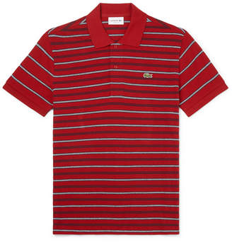 Lacoste Striped Cotton-Pique Polo Shirt - Men - Red