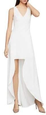 BCBGMAXAZRIA Eve Crepe Sleeveless High-Low Gown