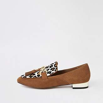 River Island Brown leather leopard print loafers
