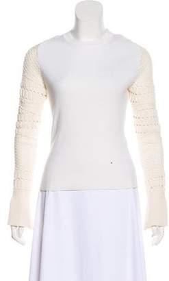 Esteban Cortazar Crochet-Accented Knit Top