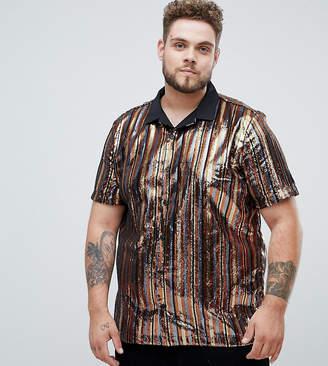 Asos DESIGN Plus party regular fit sequin stripe shirt in bronze