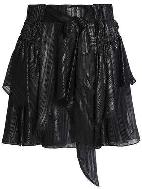 Halston Metallic Bow-Detailed Layered Chiffon Mini Skirt