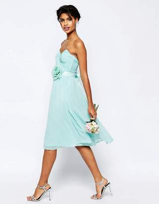 Asos Design Bridesmaid Chiffon Midi Bandeau Dress With Detachable Corsage Belt