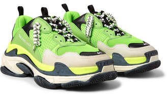 Balenciaga Triple S Mesh, Nubuck And Leather Sneakers - Green