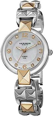 Akribos XXIV Women's AK755TTG Swiss Quartz Movement Watch with White Mother of Pearl and Silver Dial with a Pyramid Cut Bracelet