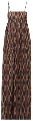 Raey Empire Waist Aztec Print Cotton Maxi Dress - Womens - Black Print