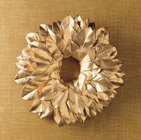 Gold Magnolia Leaf Wreath