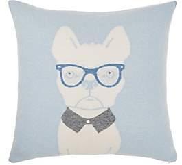 Arabella Rani Dog-With-Glasses Cashmere-Blend Pillow-Lt. Blue