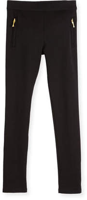 Kate Spade Zip-Trim Ponte Leggings, Black, Size 2-6
