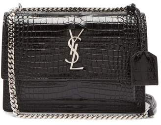 Saint Laurent Sunset Crocodile Effect Leather Cross Body Bag - Womens - Black