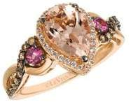 LeVian Le Vian Chocolatier Peach Morganite, Passion Fruit Tourmaline, Chocolate Diamonds, Vanilla Diamonds and 14K Strawberry Gold Ring