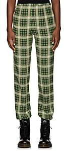 Marc Jacobs Women's Plaid Washed Silk Pants - Grn. Pat.