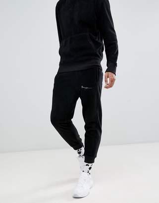 Mennace joggers in black polar fleece