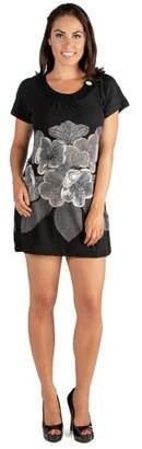 24seven Comfort Apparel Black and White Floral Short Sleeve Mini Shift Dress