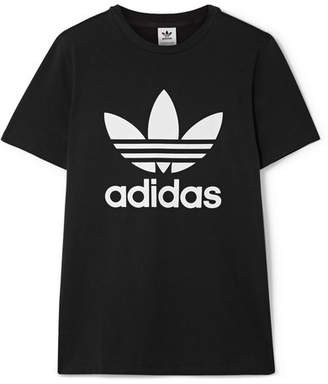 adidas Trefoil Printed Stretch-cotton Jersey T-shirt - Black
