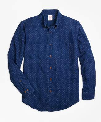 Brooks Brothers Madison Fit Indigo Printed Dot Sport Shirt