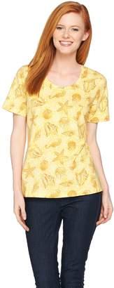 Denim & Co. Seashell Printed Short Sleeve Scoop Neck Top