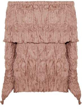 Juan Carlos Obando Off-the-shoulder Crinkled Silk-twill Top