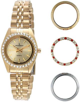 Peugeot Womens Interchangeable 4-Bezel Gold-Tone Bracelet Watch Set