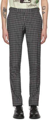Thom Browne Navy Windowpane Tartan Low-Rise Skinny Trousers