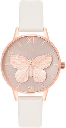 Olivia Burton 3D Butterfly Leather Strap Watch, 30mm
