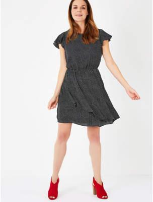 George Black Spot Print Ruffle Trim Dress