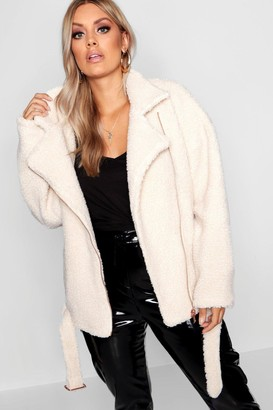 boohoo Plus Teddy Faux Fur Biker Jacket