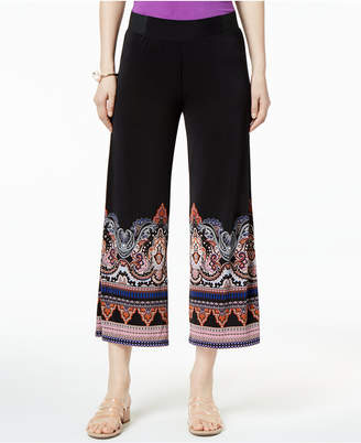 INC International Concepts I.N.C. Cropped Printed-Hem Pull-On Pants, Created for Macy's
