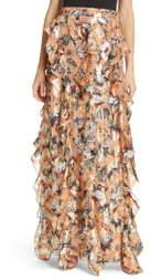 Diane von Furstenberg Salona Floral Metallic Detail Silk Ruffle Skirt