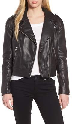 Trouve Crop Leather Biker Jacket