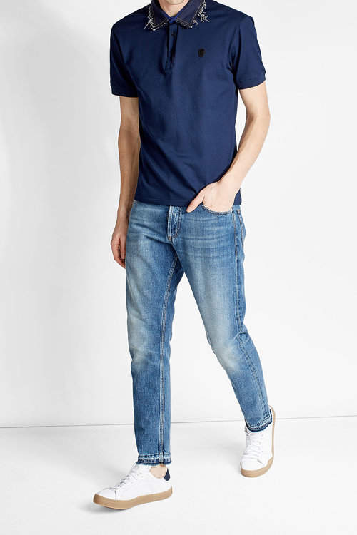 Alexander McQueen Alexander McQueen Cotton Polo Shirt with Denim Collar