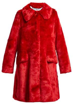 Shrimps - Kassidy Crystal Embellished Faux Fur Coat - Womens - Red